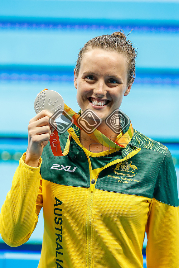Ellie Cole wins Silver in the 50m Freestyle on night six of the Paralympic Swimming Tournament<br /> Olympic Aquatics Stadium<br /> 2016 Paralympic Games - RIO Brazil<br /> Australian Paralympic Committee<br /> Tuesday 13 September 2016<br /> &copy; Sport the library / Greg Smith