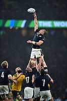 David Denton of Scotland attempts to claim the ball in the air at a lineout. Rugby World Cup Quarter Final between Australia and Scotland on October 18, 2015 at Twickenham Stadium in London, England. Photo by: Patrick Khachfe / Onside Images