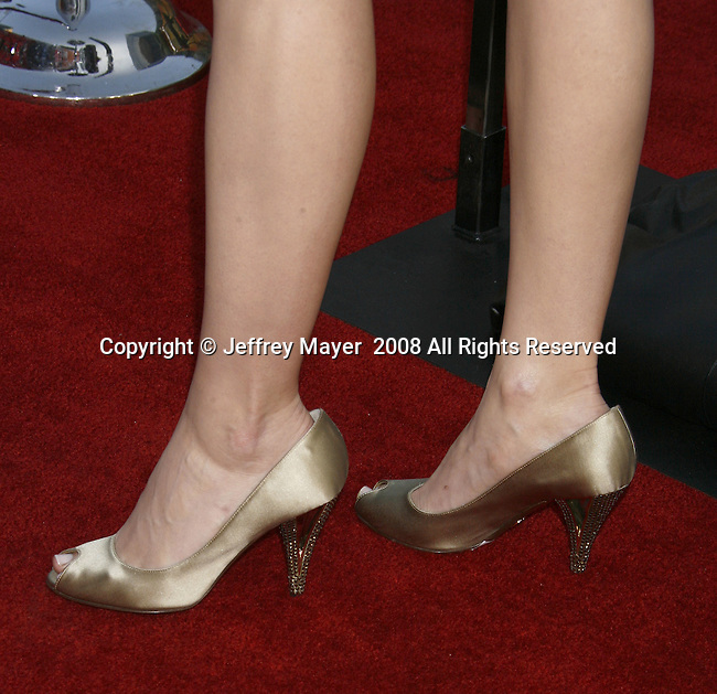 """Actress Leslie Bibb 's shoes at the """"Iron Man"""" premiere at Grauman's Chinese Theatre on April 30, 2008 in Hollywood, California."""