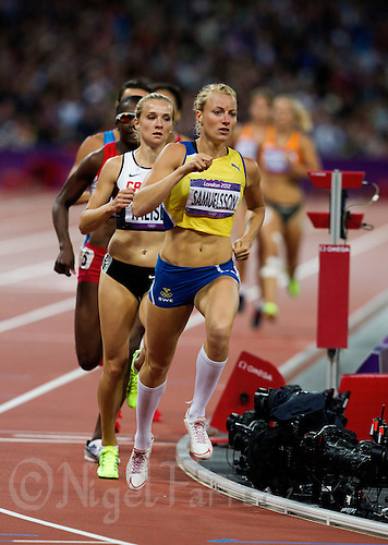 04 AUG 2012 - LONDON, GBR - Jessica Samuelsson (SWE) of Sweden leads during her Heptathlon 800m heat at the London 2012 Olympic Games athletics at the Olympic Stadium in the Olympic Park, Stratford, London, Great Britain (PHOTO (C) 2012 NIGEL FARROW)