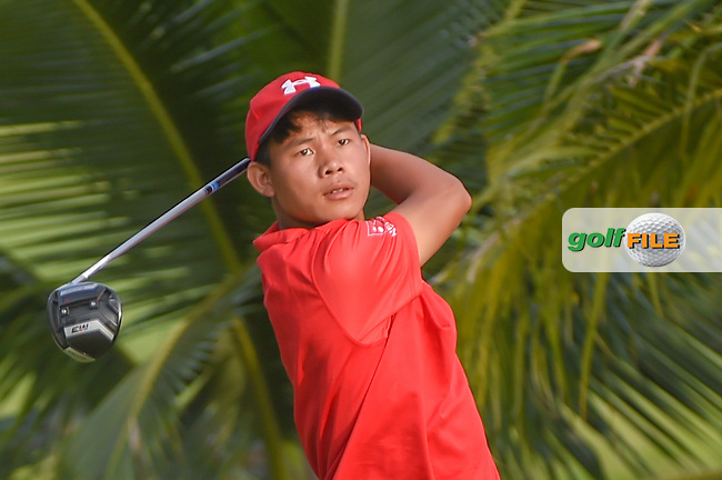 Sukra Bahadur RAI (NEP) watches his tee shot on 2 during Rd 1 of the Asia-Pacific Amateur Championship, Sentosa Golf Club, Singapore. 10/4/2018.<br /> Picture: Golffile | Ken Murray<br /> <br /> <br /> All photo usage must carry mandatory copyright credit (© Golffile | Ken Murray)