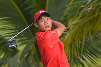 Sukra Bahadur RAI (NEP) watches his tee shot on 2 during Rd 1 of the Asia-Pacific Amateur Championship, Sentosa Golf Club, Singapore. 10/4/2018.<br /> Picture: Golffile | Ken Murray<br /> <br /> <br /> All photo usage must carry mandatory copyright credit (&copy; Golffile | Ken Murray)