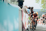 Exhausted riders after crossing the finish line atop Mur de Huy at the end of La Fl&egrave;che Wallonne Femmes 2019, running 118.5km from Huy to Huy, Belgium. 24th April 2019<br /> Picture: ASO/Thomas Maheux | Cyclefile<br /> All photos usage must carry mandatory copyright credit (&copy; Cyclefile | ASO/Thomas Maheux)