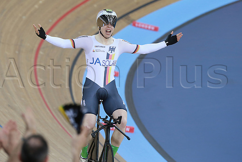 03.03.30216. Lee Valley Velo Centre, London England. UCI Track Cycling World Championships.  Podium - joachim Eilers (ger) winning the gold at the Kilo TT racing.