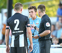 Bolton Wanderers' Will Hartshorne has words with Atherton Collieries' Dave Sherlock<br /> <br /> Photographer Alex Dodd/CameraSport<br /> <br /> Football Pre-Season Friendly - Atherton Collieries v Bolton Wanderers - Tuesday 10th July 2018 - Alder House - Atherton<br /> <br /> World Copyright &copy; 2018 CameraSport. All rights reserved. 43 Linden Ave. Countesthorpe. Leicester. England. LE8 5PG - Tel: +44 (0) 116 277 4147 - admin@camerasport.com - www.camerasport.com