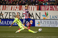 Atletico de Madrid´s Antoine Griezmann and Barcelona´s Javier Mascherano during 2014-15 Spanish King Cup match between Atletico de Madrid and Barcelona at Vicente Calderon stadium in Madrid, Spain. January 28, 2015. (ALTERPHOTOS/Luis Fernandez) /nortephoto.com<br />