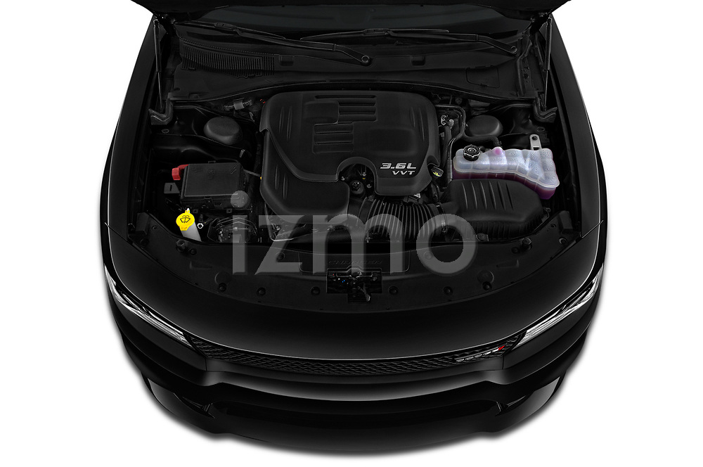 Car Stock 2019 Dodge Charger GT 4 Door Sedan Engine  high angle detail view
