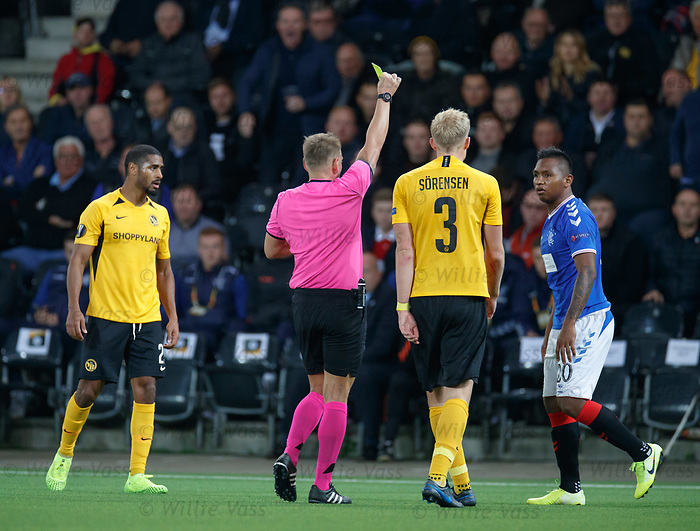 03.10.2019 Young Boys of Bern v Rangers: Alfredo Morelos booked