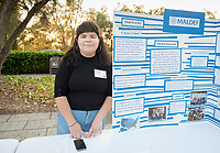 Alison Salazar was an intern at MALDEF Mexican American Legal Defense and Education Fund. Career Services hosts the Summer Experience Expo, where Occidental College student interns from the InternLA program and INT Internship course shared information about the organizations they worked for over the summer. Sept. 7, 2017 at Thorne Hall patio. Employers were also in attendance.<br /> (Photo by Marc Campos, Occidental College Photographer)