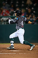 Daytona Tortugas left fielder TJ Friedl (6) follows through on a swing during a game against the Jupiter Hammerheads on April 13, 2018 at Jackie Robinson Ballpark in Daytona Beach, Florida.  Daytona defeated Jupiter 9-3.  (Mike Janes/Four Seam Images)