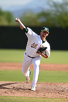 Oakland Athletics pitcher Bobby Wahl (58) during an Instructional League game against the San Francisco Giants on October 15, 2014 at Papago Park Baseball Complex in Phoenix, Arizona.  (Mike Janes/Four Seam Images)