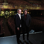 Jordan Roth with Barry Manilow on stage at a Meet & Greet for 'Manilow On Broadway' at The St. James Theatre in New York City on 1/22/2013