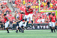 College Park, MD - SEPT 22, 2018: Maryland Terrapins defensive back Antoine Brooks Jr. (25) and Maryland Terrapins defensive lineman Jesse Aniebonam (6) celebrate a turnover on down stop during game between Maryland and Minnesota at Capital One Field at Maryland Stadium in College Park, MD. The Terrapins defeated the Golden Bears 42-13 to move to 3-1 on the season. (Photo by Phil Peters/Media Images International)