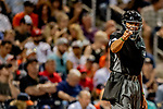 23 February 2019: MLB Umpire CB Bucknor works home plate during a Spring Training game between the Washington Nationals and the Houston Astros at the Ballpark of the Palm Beaches in West Palm Beach, Florida. The Nationals walked off with a 7-6 Opening Game win to start the Grapefruit League season. Mandatory Credit: Ed Wolfstein Photo *** RAW (NEF) Image File Available ***