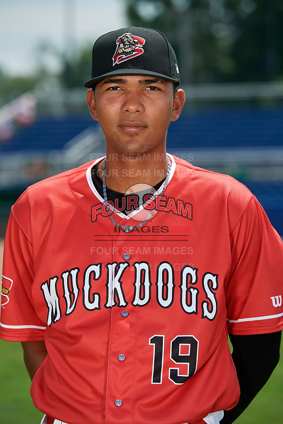 Batavia Muckdogs pitcher Humberto Mejia (19) poses for a photo on July 2, 2018 at Dwyer Stadium in Batavia, New York.  (Mike Janes/Four Seam Images)
