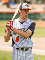 GREEN BAY - June 2015: Green Bay Bullfrogs catcher Axel Poesmans (8) during a Northwoods League game against the Kenosha Kingfish on June 21st, 2015 at Joannes Park in Green Bay, Wisconsin. Green Bay defeated Kenosha 10-7. (Brad Krause/Krause Sports Photography)