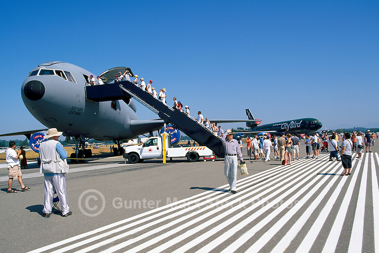 Spectators touring McDonnell Douglas KC-10 Extender on Static Display - at Abbotsford International Airshow, BC, British Columbia, Canada