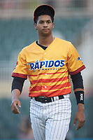 Johan Cruz (5) of the Los Rapidos de Kannapolis during the game against the West Virginia Power at Kannapolis Intimidators Stadium on July 25, 2018 in Kannapolis, North Carolina. The Los Rapidos defeated the Power 8-7 in game two of a double-header. (Brian Westerholt/Four Seam Images)