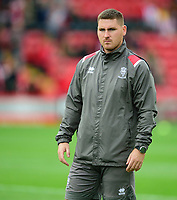 Lincoln City's head of sports science Luke Jelly during the pre-match warm-up<br /> <br /> Photographer Andrew Vaughan/CameraSport<br /> <br /> The EFL Sky Bet League One - Lincoln City v Sunderland - Saturday 5th October 2019 - Sincil Bank - Lincoln<br /> <br /> World Copyright © 2019 CameraSport. All rights reserved. 43 Linden Ave. Countesthorpe. Leicester. England. LE8 5PG - Tel: +44 (0) 116 277 4147 - admin@camerasport.com - www.camerasport.com