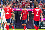 06.10.2018, Allianz Arena, Muenchen, GER, 1.FBL,  FC Bayern Muenchen vs. Borussia Moenchengladbach, DFL regulations prohibit any use of photographs as image sequences and/or quasi-video, im Bild enttaeuscht Robert Lewandowski (FCB #9) James Rodriguez (FCB #11) Franck Ribery (FCB #7) <br /> <br />  Foto &copy; nordphoto / Straubmeier
