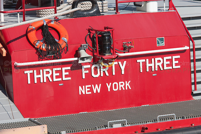 The rear of FDNY Marine 1 fire boat Three Forty Three moored in its berth at Pier 40 on the Hudson River.