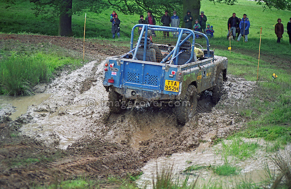 Land Rover Series 2 based off-road racer competing at the1993 A.R.C. National Rally. The Association of Rover Clubs (A.R.C., since 2006 the Association of Land Rover Clubs ALRC) National Rally is the biggest annual motor sport oriented Land Rover event and was hosted 1993 by the Midland Rover Owners Club at Eastnor Castle in Herefordshire. --- No releases available. Automotive trademarks are the property of the trademark holder, authorization may be needed for some uses.