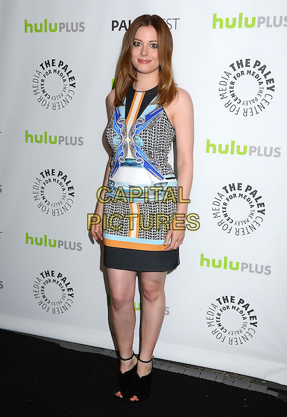 Gillian Jacobs.The Paley Center For Media's PaleyFest 2013 Honoring 'Community' at Saban Theatre, Los Angeles, California, USA.  .March 5th, 2013.full length black blue black white orange sleeveless dress pattern print ankle strap peep toe shoes .CAP/ADM/BT.©Birdie Thompson/AdMedia/Capital Pictures.