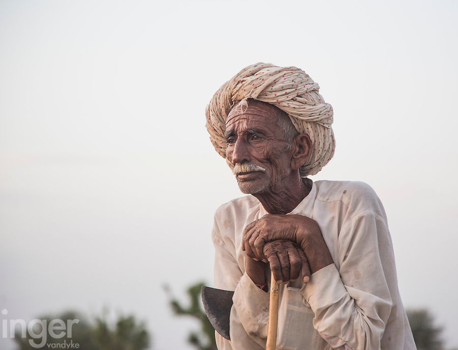Elderly Farmer near Sambhar, Rajasthan
