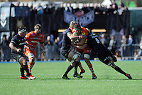 Sebastian De Chaves of Leicester Tigers is tackled by Kelly Brown and Alistair Hargreaves of Saracens during the Aviva Premiership Rugby match between Saracens and Leicester Tigers at Allianz Park on Saturday 11th April 2015 (Photo by Rob Munro)