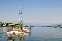 Commercial Trolling fishing vessels in Thomsen Harbor, in the coastal town of Sitka, Alaska