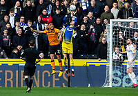 Leeds United's Illan Meslier gathers a cross<br /> <br /> Photographer Alex Dodd/CameraSport<br /> <br /> The EFL Sky Bet Championship - Hull City v Leeds United - Saturday 29th February 2020 - KCOM Stadium - Hull<br /> <br /> World Copyright © 2020 CameraSport. All rights reserved. 43 Linden Ave. Countesthorpe. Leicester. England. LE8 5PG - Tel: +44 (0) 116 277 4147 - admin@camerasport.com - www.camerasport.com