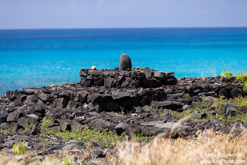 Stone shrine altar along the ocean in Kailua-Kona, Big Island, Hawaii