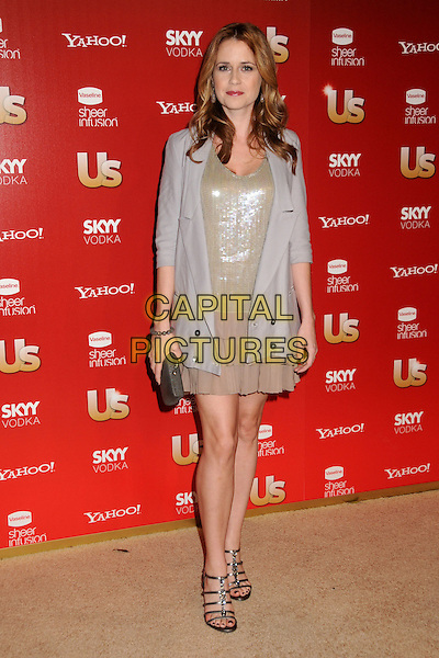 JENNA FISCHER.US Weekly's Hot Hollywood Party 2009 held at Voyeur, West Hollywood, California, USA..November 18th, 2009.half length jacket gold beige dress couple gold layers layered clutch bag  .CAP/ADM/BP.©Byron Purvis/AdMedia/Capital Pictures.
