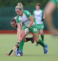 23 June 2013; Kate Dillon, Ireland, in action against Mairan Dickinson, Canada. Electric Ireland Senior Women's International Friendly, Ireland v Canada, Belfield, Dublin. Picture credit: Tommy Grealy/Actionshots.ie