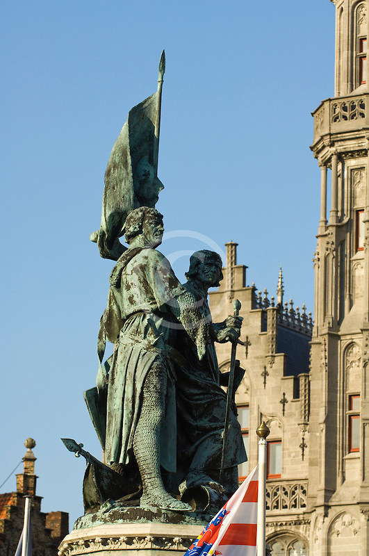 Belgium, Bruges, Statue of Jan Breydel and Pieter de Coninck, with Provincial Palace
