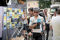 white jersey / best young rider Egan Bernal (COL/Ineos) backstage the finish podium<br /> <br /> Stage 17: Pont du Gard to Gap (206km)<br /> 106th Tour de France 2019 (2.UWT)<br /> <br /> ©kramon