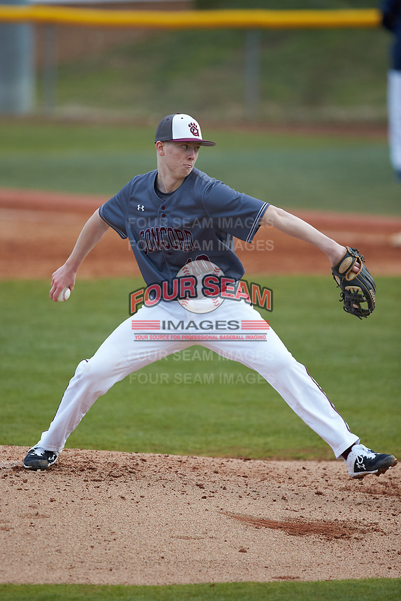 Concord Mountain Lions relief pitcher Andrew Neff (10) in action against the Wingate Bulldogs at Ron Christopher Stadium on February 1, 2020 in Wingate, North Carolina. The Bulldogs defeated the Mountain Lions 8-0 in game one of a doubleheader. (Brian Westerholt/Four Seam Images)