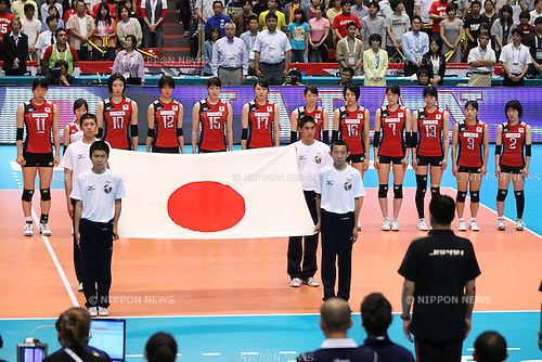Women's Japan National Team Group (JPN), .May 26, 2012 - Volleyball : .FIVB Women's Volleyball World Final Qualification for the London Olympics 2012 .match between Japan 0-3 Russia .at Tokyo Metropolitan Gymnasium, Tokyo, Japan. .(Photo by Daiju Kitamura/AFLO SPORT) [1045]
