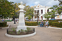 Cuba, Cienfuegos. Statue to Don Ramon Maria de Labra, Abolitionist Governor of Cienfuegos, 1844-48.