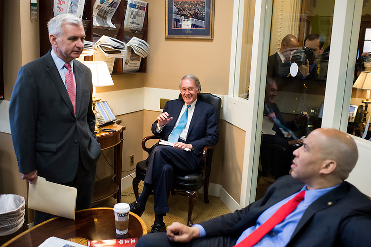 UNITED STATES - MAY 21: From left, Sen. Jack Reed, D-R.I., Sen. Edward Markey, D-Mass., and Sen. Cory Booker, D-N.J., talk before holding their news conference on Amtrak funding on Thursday, May 21, 2015. (Photo By Bill Clark/CQ Roll Call)