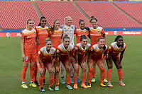 Frisco, TX - Sunday September 03, 2017: Houston Dash Starting XI during a regular season National Women's Soccer League (NWSL) match between the Houston Dash and the Seattle Reign FC at Toyota Stadium in Frisco Texas. The match was moved to Toyota Stadium in Frisco Texas due to Hurricane Harvey hitting Houston Texas.
