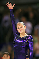 Oct 19, 2006; Aarhus, Denmark; Jana Bieger of USA celebrates her silver medal win in ALL-Around final at 2006 World Championships Artistic Gymnastics. Photo by Tom Theobald<br />