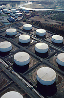 Aerial of Oil Tank Farm at Port of Newark, New Jersey. Energy, fuel, petroleum. Port of Newark New Jersey United States.