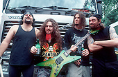 Pantera - L-R: Vinnie Paul, Dimebag Darrell, Phil Anselmo, Rex Brown - backstage at the Ozzfest, Milton Keynes, UK - 20 Jun 1998.  Photo credit: George Chin/IconicPix