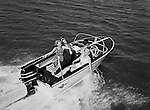 Pittsburgh PA:  View of a Crestliner Motor Boat on the water.  Work was done for Lando Advertising in Pittsburgh - 1964