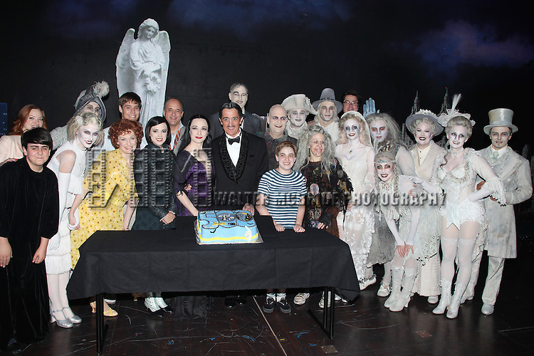 Jesse Swenson, Becca Ayers, Rachel Potter, Adam Grupper, Bebe Neuwirth, Roger Rees, Brad Oscar, Adam Riegler, Zachary James, Jackie Hoffman.with the cast of 'The Addams Family' celebrating their 500th performance with a special cake-cutting backstage at the Lunt Fontanne Theatre in New York City.