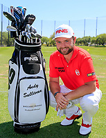Andy Sullivan (ENG) with new sponsor on his bag Baglioni Hotels before the start of his 2nd round at the WGC Dell Technologies Matchplay championship, Austin Country Club, Austin, Texas, USA. 23/03/2017.<br /> Picture: Golffile | Fran Caffrey<br /> <br /> <br /> All photo usage must carry mandatory copyright credit (&copy; Golffile | Fran Caffrey)