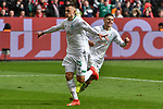 17.03.2019, BayArena, Leverkusen, GER, DFL, 1. BL, Bayer 04 Leverkusen vs SV Werder Bremen, DFL regulations prohibit any use of photographs as image sequences and/or quasi-video<br /> <br /> im Bild Milot Rashica (#11, SV Werder Bremen) jubelt nach seinem Tor zum 0:2 mit Maximilian Eggestein (#35, SV Werder Bremen) <br /> <br /> Foto © nph/Mauelshagen