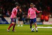 31st October 2017, Wanda Metropolitano, Madrid, Spain; UEFA Champions League, Atletico Madrid versus Qarabag FK; Antonie Griezmann and Kevin Gameiro (21) of Atletico Madrid during the warm-up