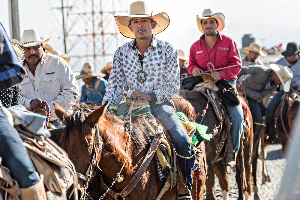 Cabalgata Fotos.Mexican Cowboys During The Cabalgata De Cristo Rey